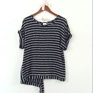A New Day Black & White Stripe Split Back Top